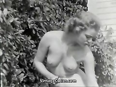 Nudist Nymph Feels Good Bare in Garden (1950s Vintage)