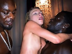 BLACKEDRAW Blonde boned by four black men
