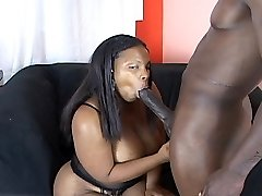 Phatty Ebony Takes A Large Black Cock