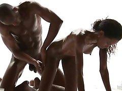 Loving Black Couple Massage