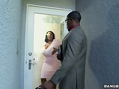 Hot ebony BBW Maseratti smashes horny ebony man on the white couch