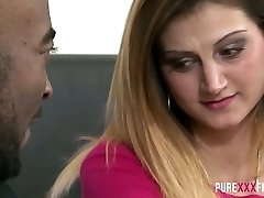 Ardent Romanian sex addict Eva Johnson gets nailed doggy by ebony stud