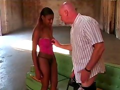 Black girl picked up by bald white guy for fucking session