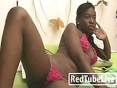Ebony ass takes dildo