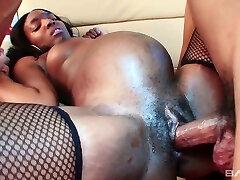 Ebony pregnant tramp in stocking Alice Black gets her muff rammed