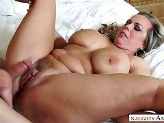 Mega busty stepmom Amber Lynn Bach is pummeled by horny 19 yo stepson