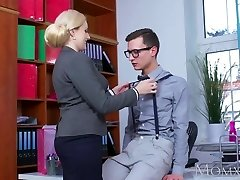 MOM Blonde humungous tits Cougar sucks massive geek cock