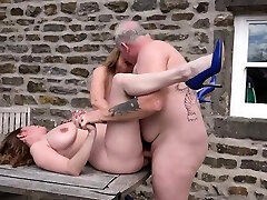 Two busty mature milfs fucked outdoors
