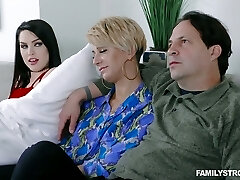 Spoiled daughter-in-law Raven Reign seduces her step-father in front of sleeping mom