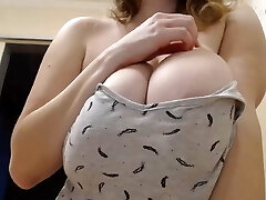 Beautiful Russian Girl Shows Thick Natural Boobs