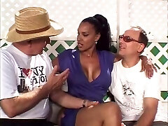 Hot married black beauty gets her amazing tits sucked by two milky folks