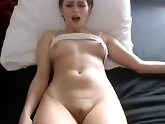 Sexy babe nips fingering enormous cameltoe pussy