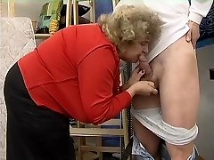 Chubby Granny in Stockings Plows the Boy