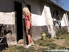 Blonde teenie gets banged in the barn