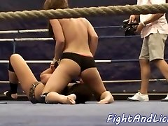 Super-naughty lesbian stunners wrestling on the floor