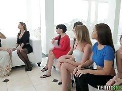 Lesbian beauty Reena involved six cuties in girl/girl orgy
