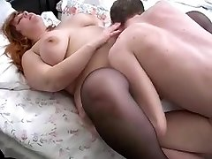 redhead bbw mother and her stepson on bed