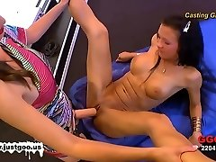 Audition girl Anna gets tested by Viktoria's phat strap-on!
