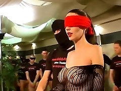 German Goo Girls - Blindfolded Cougar bukkake gang-fuck