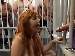 Bukkake - Slut with big tits in american prison bukkake