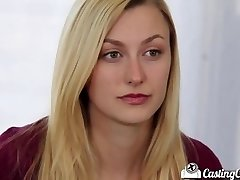 Audition Couch-X Blonde cheerleader flashes off