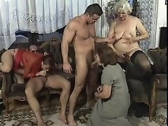 Wild Mature orgy in living bedroom with xxl dick studs
