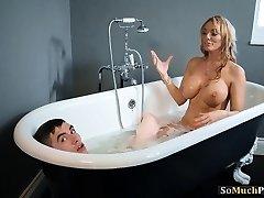 Huge knockers MILFs enjoying threesome sex in the bath