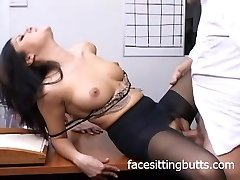 Horny office slut in tights inhales like a pro!