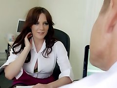 Mature hungry manager mouth fucks yam-sized boobed brunette strumpet in his office hard