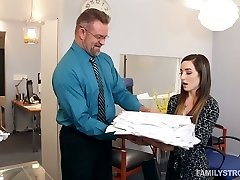 Pampered chick Bambi lures her stepfather in his office