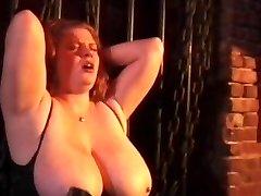 Kinky couple spanking horny tied bi-atch