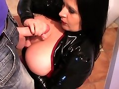 Latex Biotch in the Kitchen - Spandex Blowjob Handjob - Cum on my Tits