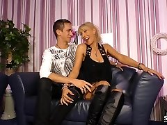 SexTape Germany - EMO sheer pleasure with a German BBW fucking a freaky dude clothed as a maid