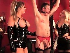 Three spandex femdoms dominate some sissy man