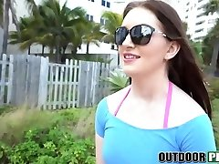Extreme beauty Maya with big hairy pubic hair has public hookup