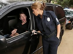 Latina officer caught on a fellow jerking off in his truck!