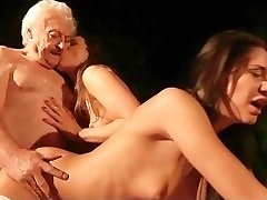 Beautiful stockings teenies outdoor 69 sausage sucking for old fat grandpa