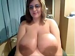 Ugly Chick shows off insanely hefty tits