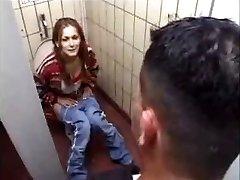 German Tramp gets it on Toilet