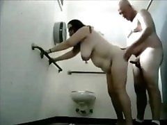Chubby Cougar Toilet Fucked