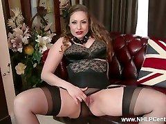 Natural giant bra-stuffers brunette Sophia Delane strips to nylons heels and wanks