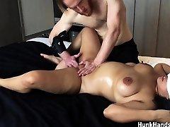 20 yo Asian First-timer gf CHOKED Squirts Large Ass Real Massage !