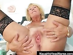 Blonde milf Greta good-sized natural boobs and uniform