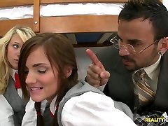 Poor students Teagan Summers and Lily Carter give double blowjob to their educator
