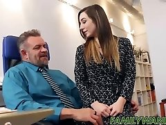 Cute petite nubile Bambi Brooks rides a monstrous rod in the office