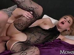MOM Raw big tits MILF in bodystocking splashing and rimming