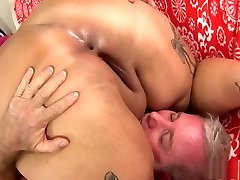 Pink haired plumper Sara gets her tight cooch inserted with rigid meat