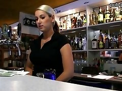 Monstrous boobs bartender chick plowed at work