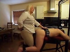Strap-on - Hot Plumper Mistress Using Her Boytoy's Ass