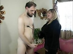 Big tits domina Cristian & her slave in action